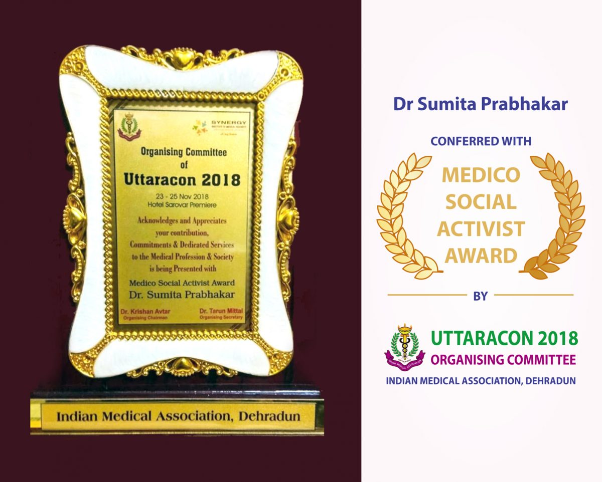 Dr Sumita Prabhakar conferred with Medico-Social Activist Award by IMA Uttaracon 2018